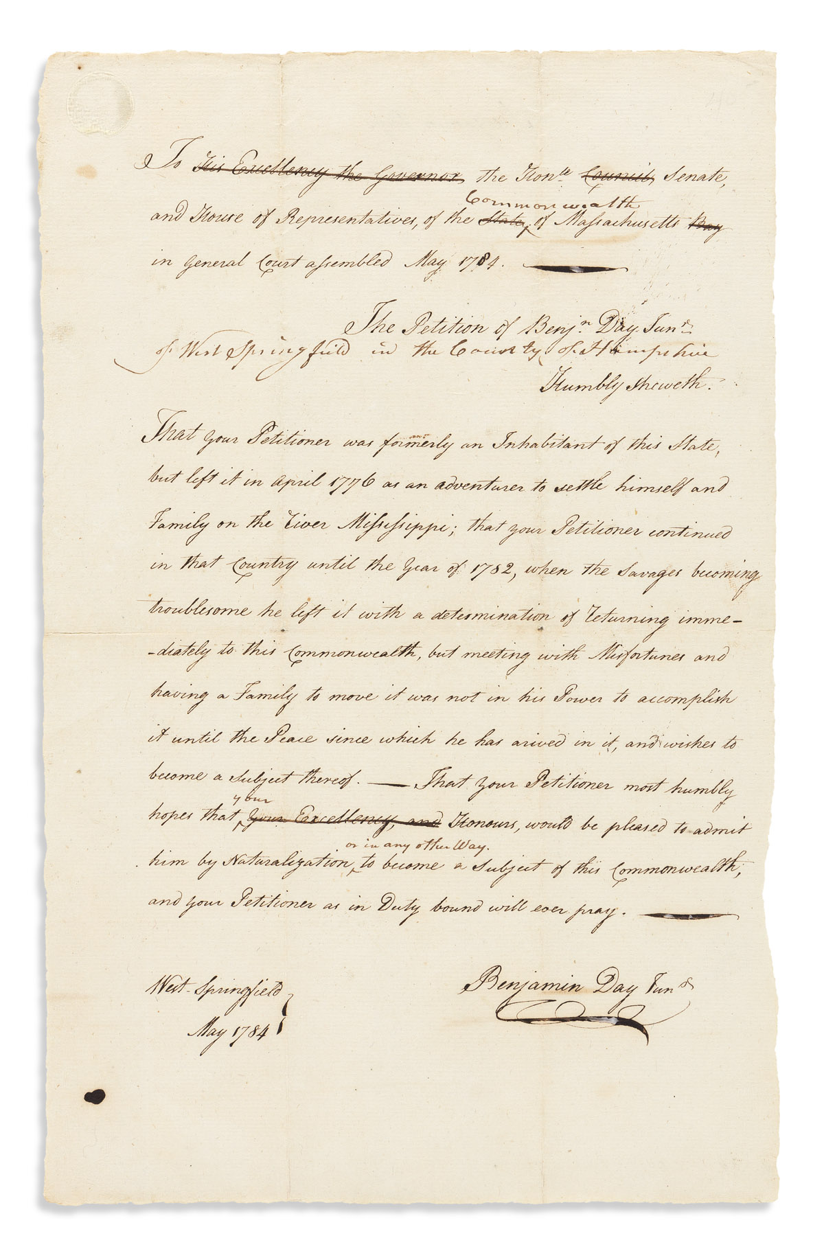 (AMERICAN REVOLUTION.) Benjamin Day Jr. A Loyalist returning from British-held Mississippi requests American citizenship.