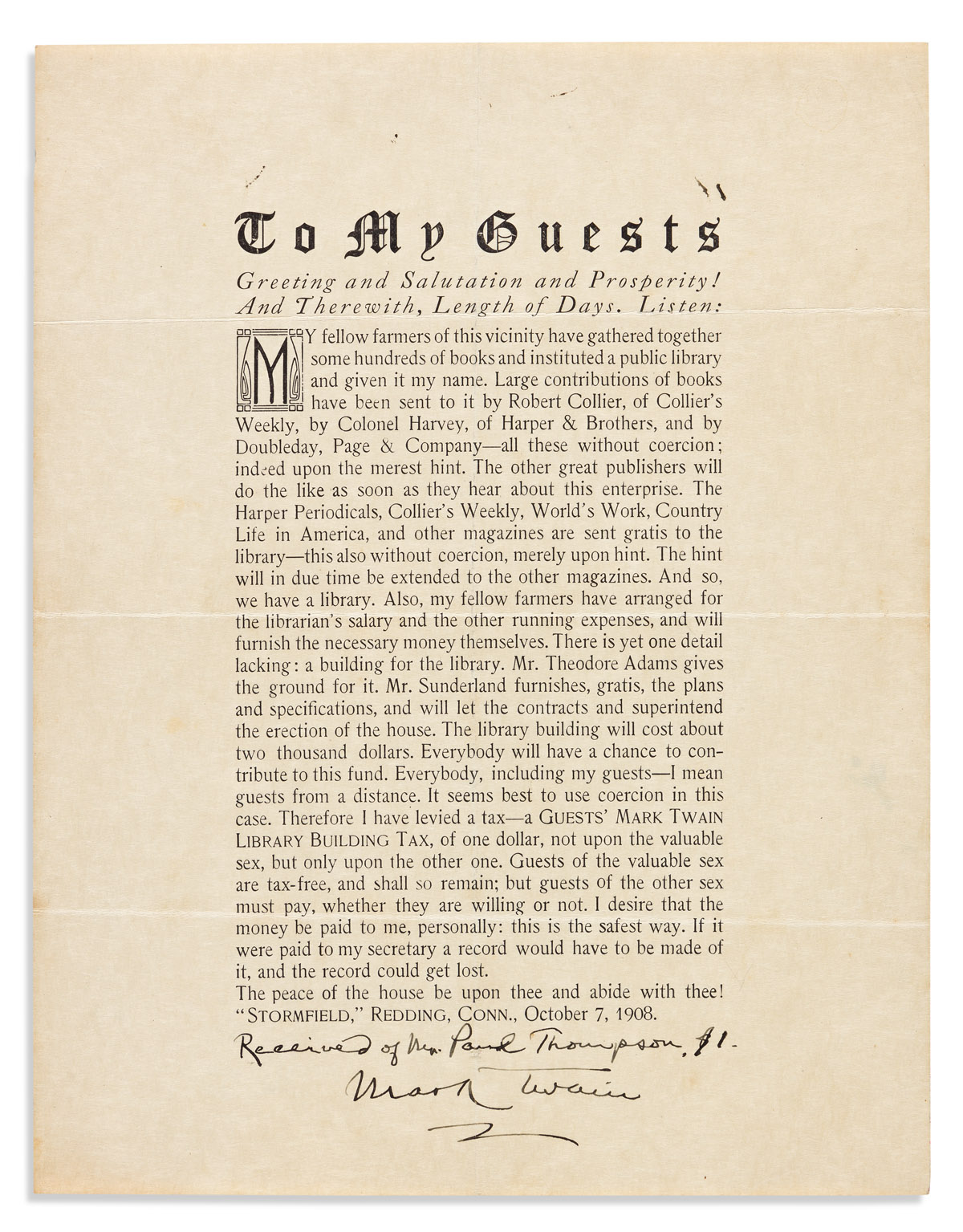 """TWAIN, MARK. Printed circular letter Signed and Inscribed, """"Received of Mr. Paul Thompson. $1,"""""""