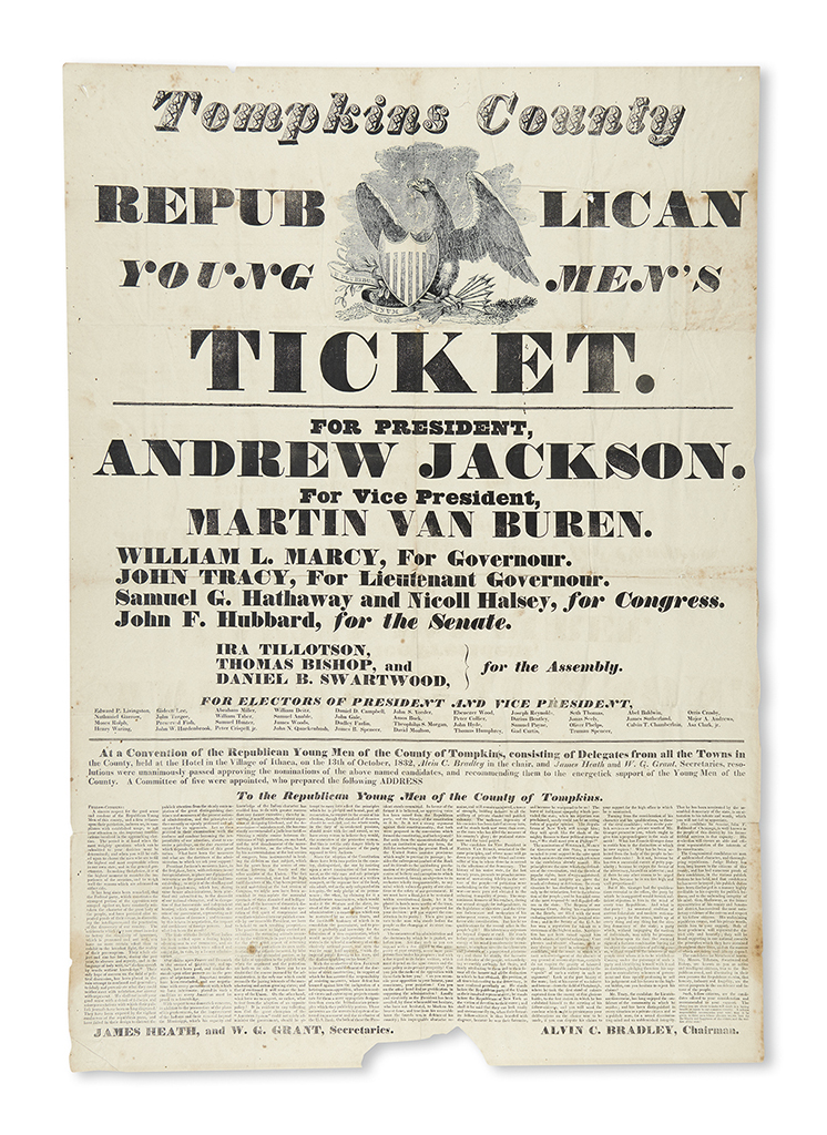 (PRESIDENTS--1832 CAMPAIGN.) Tompkins County Republican Young Mens Ticket. For President, Andrew Jackson.