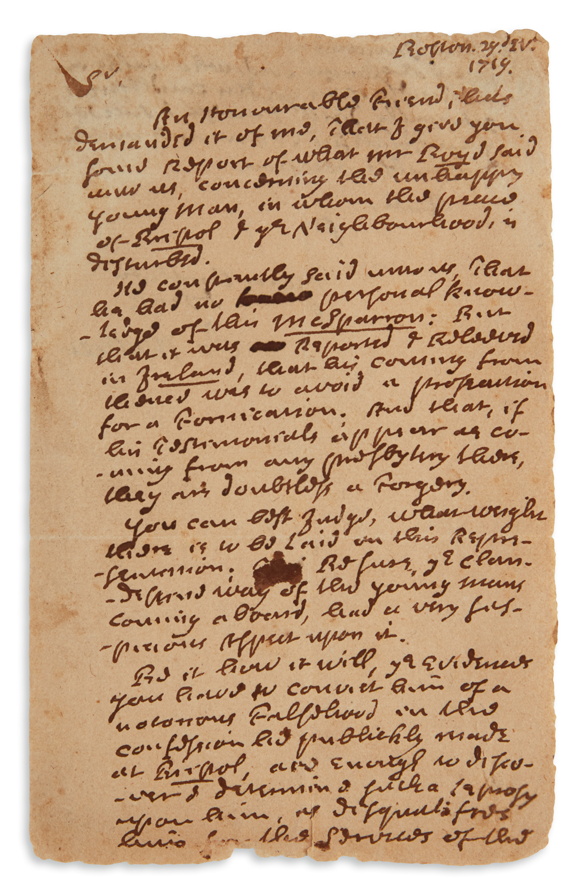 MAY OUR GLORIOUS LORD . . . GRACIOUSLY DIRECT . . . YOUR FAITHFUL COTTON MATHER. Autograph Letter Signed, ...