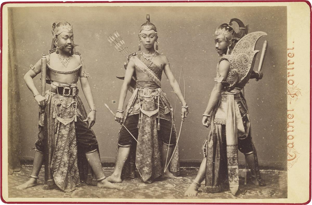 (JAVA) A scarce suite of 8 photographs portraying traditional Indonesian dancers, purportedly photographed at the Amsterdam Internation