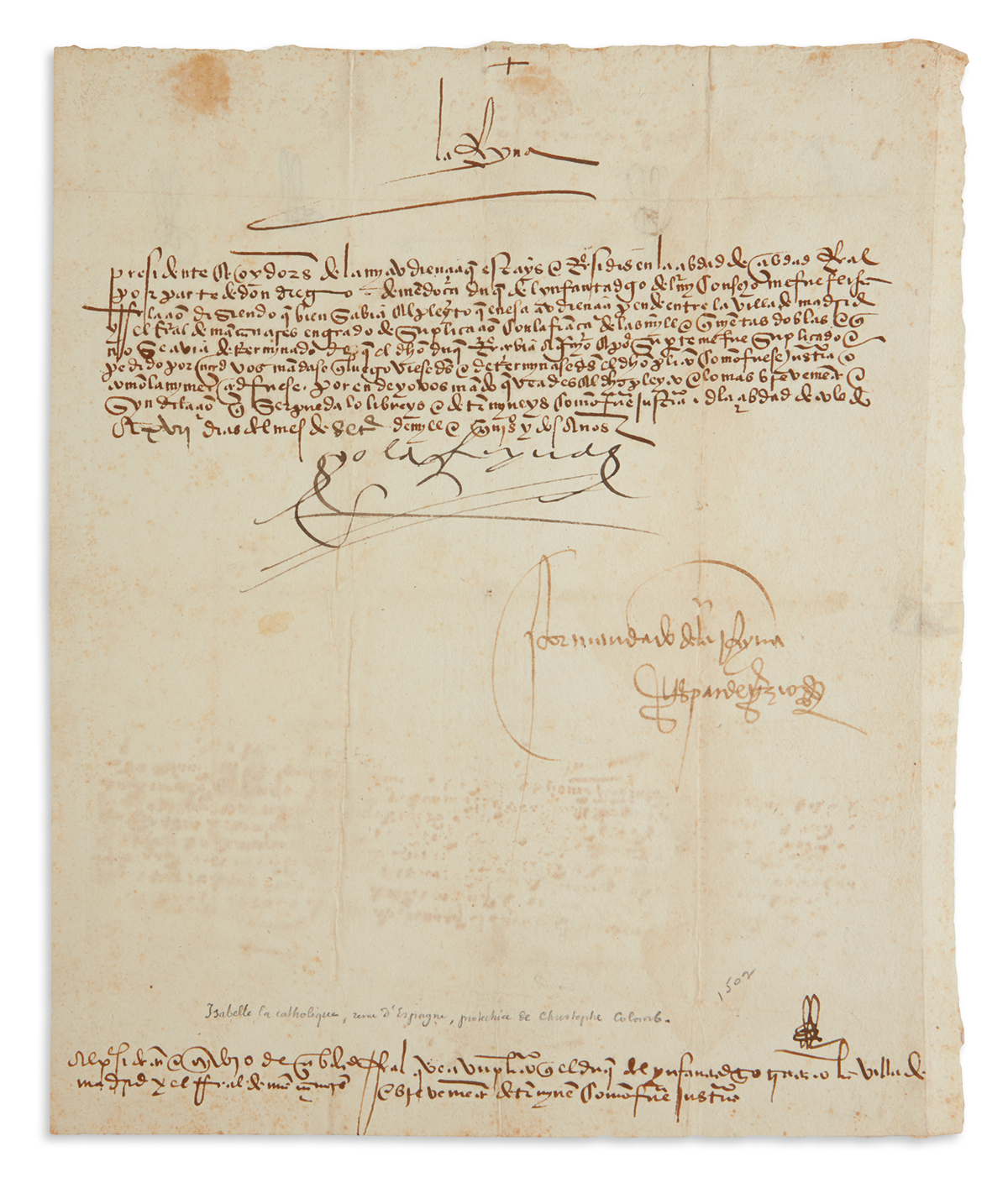 ISABELLA I, QUEEN OF SPAIN. Document Signed, Yo la Reyna, to the Council of Ciudad Real, in Spanish,