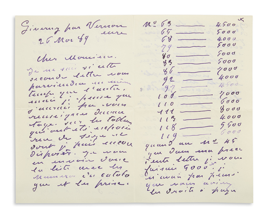 MONET, CLAUDE. Autograph Letter Signed, to Desmond Fitzgerald, in French,