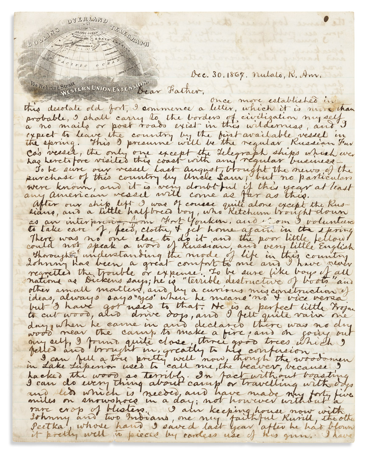(ALASKA.) William Healey Dall. An extremely detailed letter from the Alaskan wilderness in the year of the Alaska Purchase.