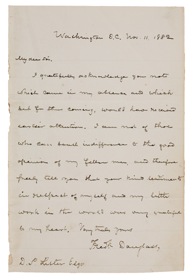 DOUGLASS, FREDERICK. Autograph Letter Signed, tipped into a copy of The Life and Times of Frederick Douglass.