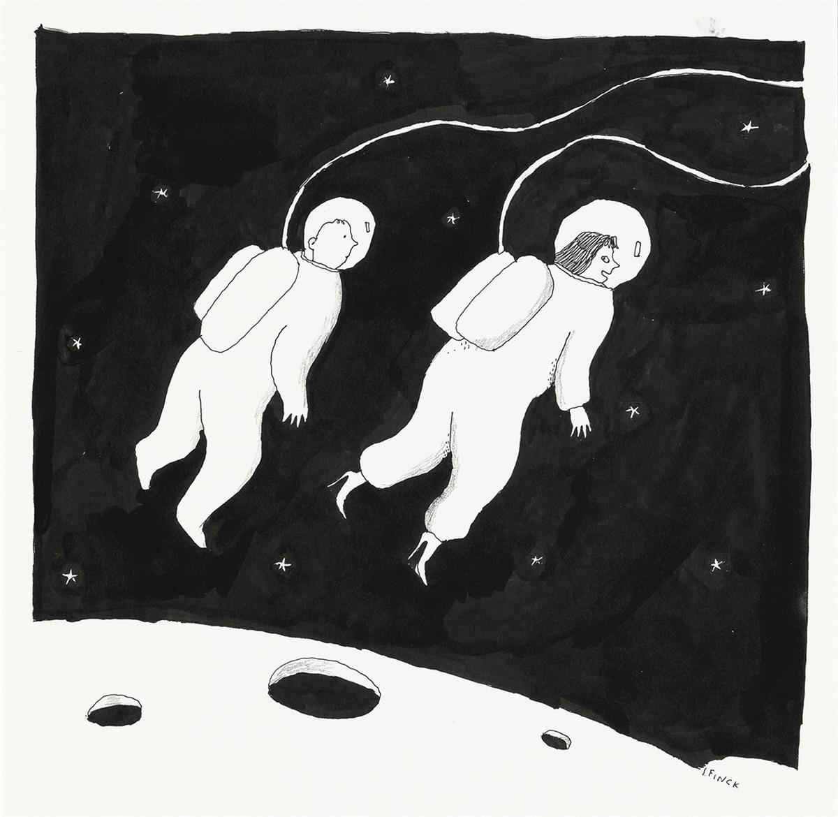 LIANA-FINCK-(THE-NEW-YORKER--CARTOON--SPACE)-I-knew-there-would-be-a-time-I-could-wear-them-without-destroying-my-feet