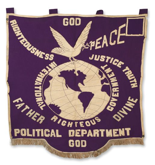 (RELIGION.) DIVINE, FATHER. God, Righteousness, Justice, Peace, Truth. . .Father Divine. Political Department.