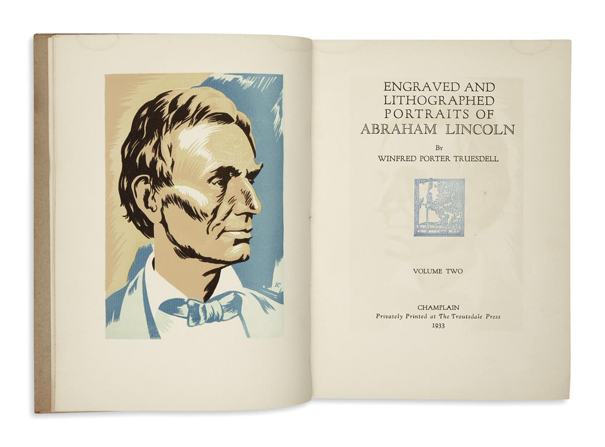 (BOOKS AND PAMPHLETS.) Truesdell, Winfred Porter. Engraved and Lithographed Portraits of Abraham Lincoln,