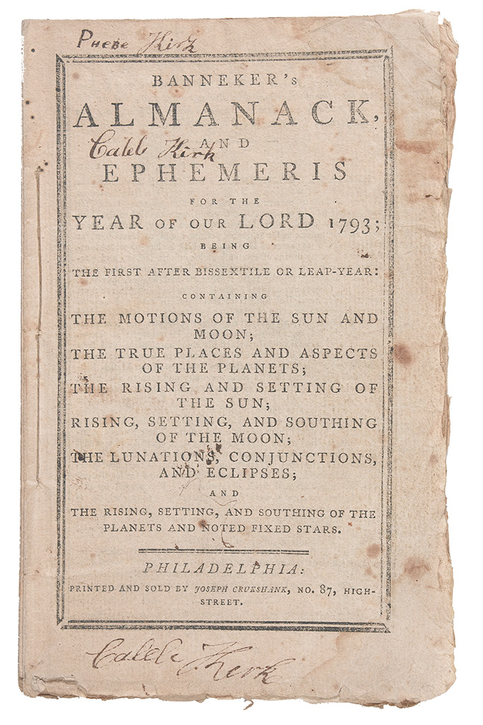 (ALMANAC.) BANNEKER, BENJAMIN. Bannekers Almanack and Ephemeris for the Year of our Lord, 1793.