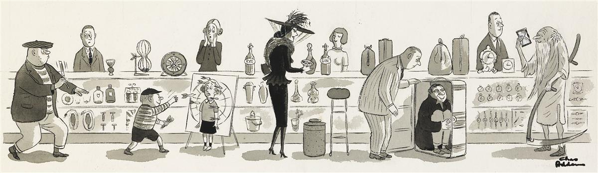CHARLES ADDAMS. (ADVERTISING) Morticia in the Market for Arsenic.