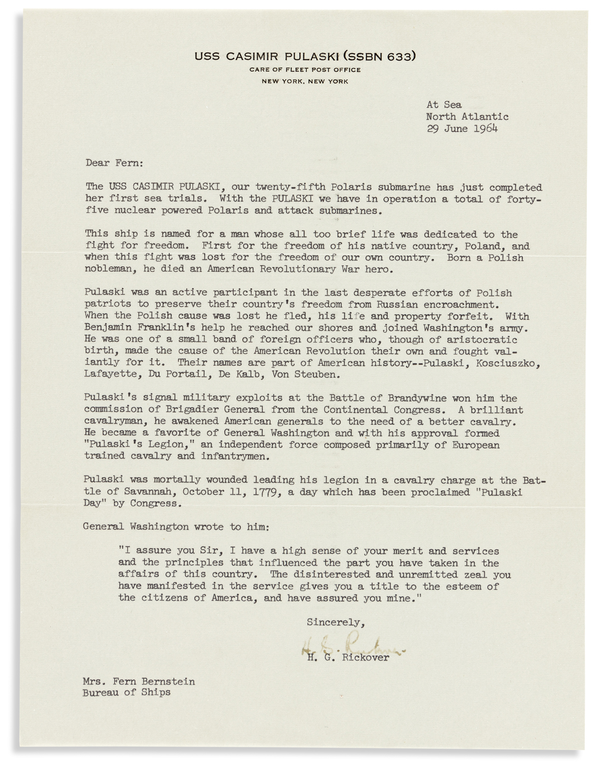 RICKOVER, HYMAN G. Typed Letter Signed, H.G. Rickover, to Fern Bernstein,