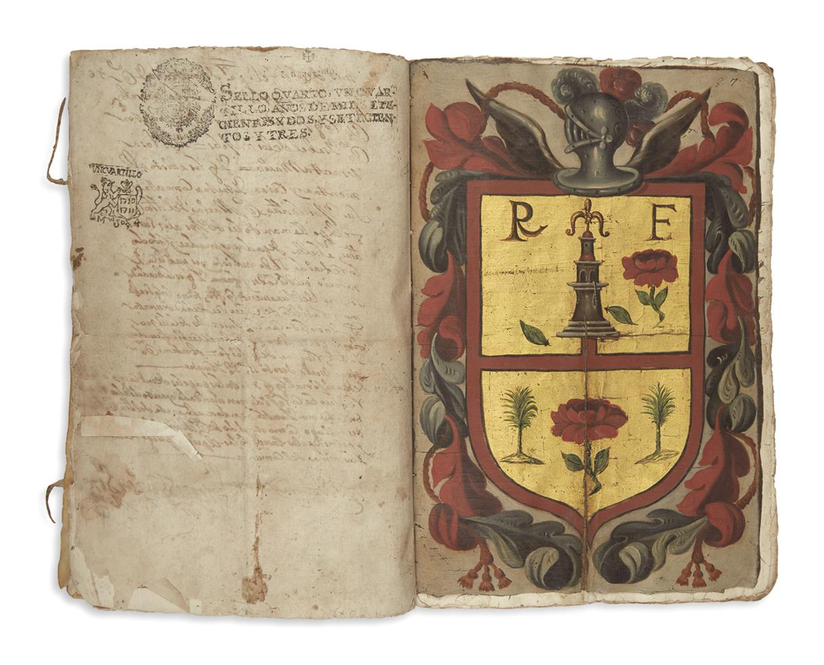 (MEXICAN MANUSCRIPTS.) Manuscript confirmation of arms and nobility in favor of descendants of the Montezuma family.