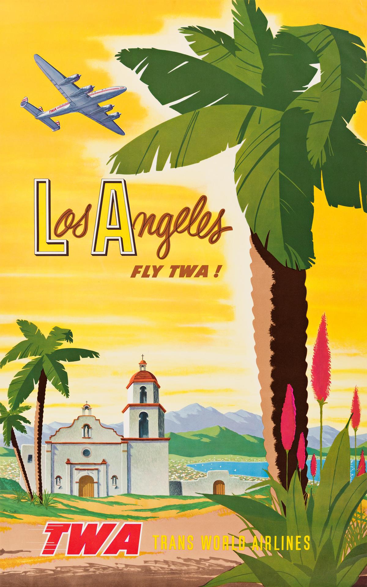 Bob Harmer Smith (1906-1980).  LOS ANGELES / FLY TWA! Circa 1948.