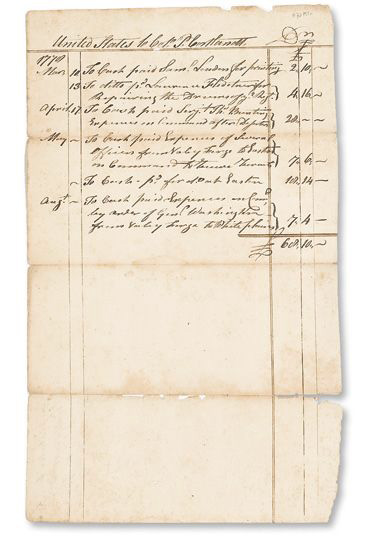 (AMERICAN REVOLUTION--1779.) List of expenses incurred by Colonel Philip Van Cortlandt at Valley Forge.