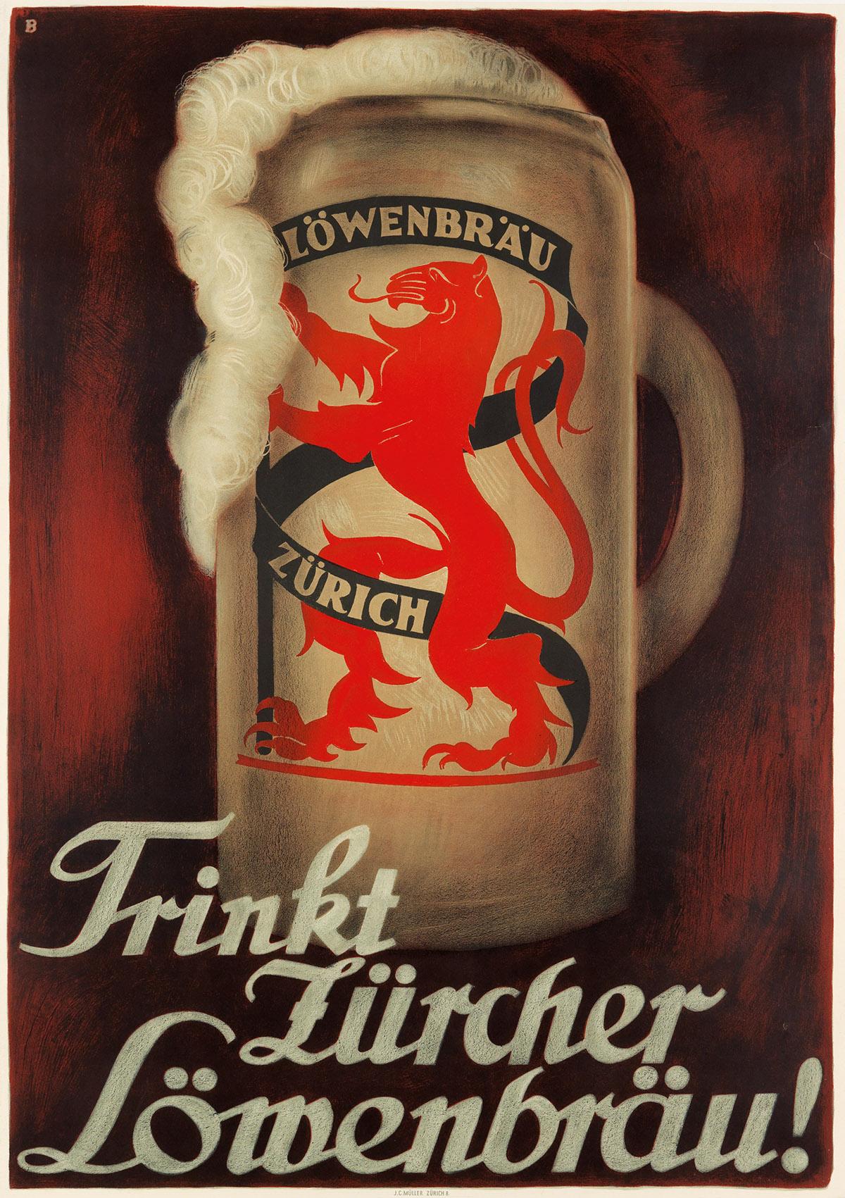 OTTO-BAUMBERGER-(1889-1961)-TRINKT-ZÜRCHER-LÖWENBRÄU-1927-50