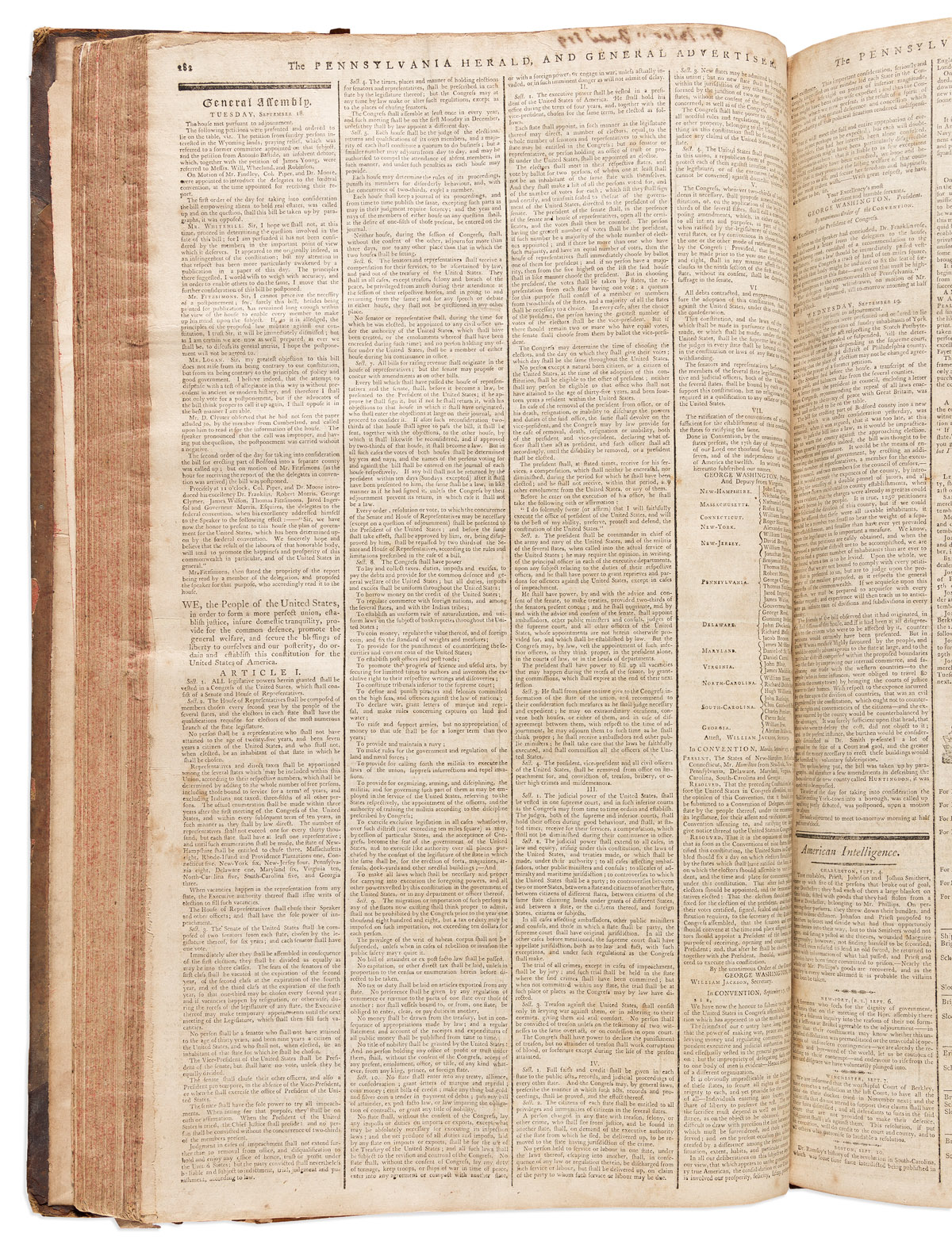 (CONSTITUTION.) Bound volume of the Pennsylvania Herald, featuring a very early printing of the United States Constitution and more.
