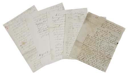(SLAVERY AND ABOLITION.) Group of five manuscript documents relating to slave-dealer Robert Bostock,