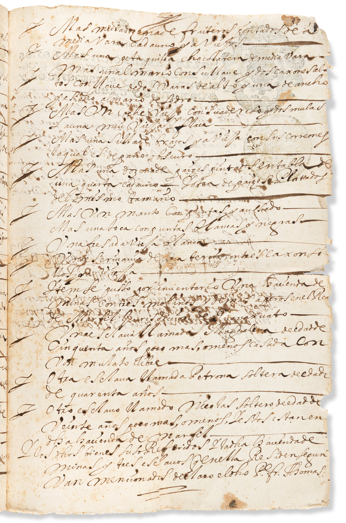(SLAVERY AND ABOLITION--MEXICO.) Mexican estate record including an inventory of enslaved people.