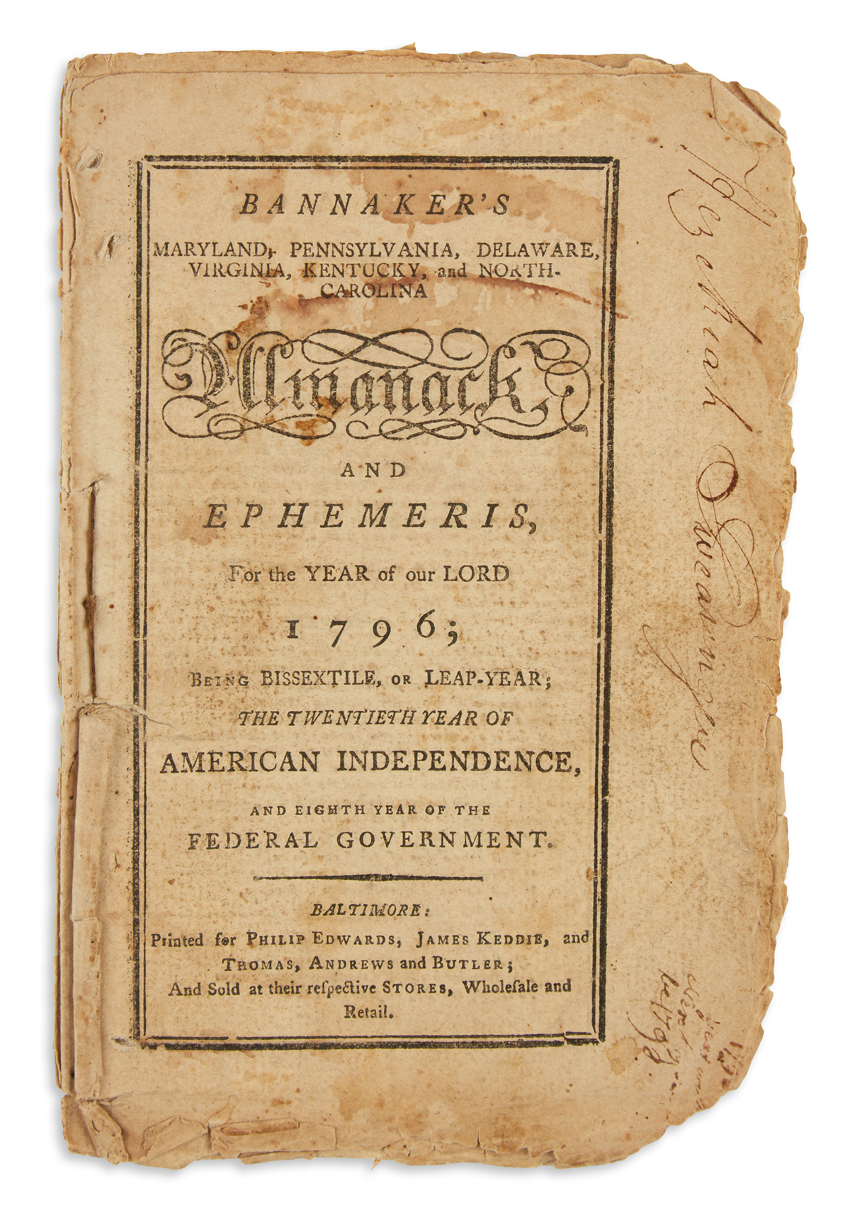 BANNEKER, BENJAMIN. Bannaker's Maryland . . . Almanack and Ephemeris, for the Year of our Lord 1796.