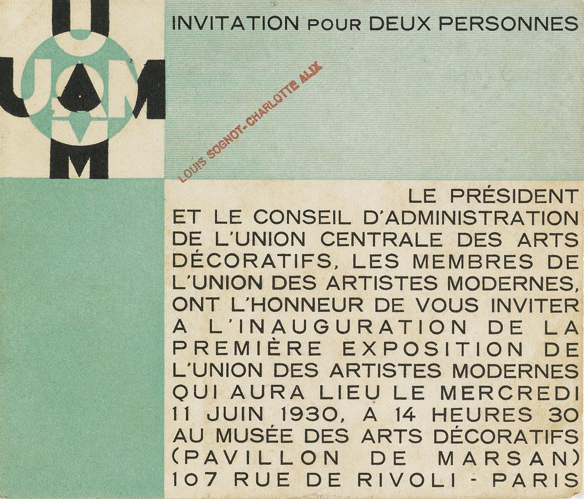 DESIGNER-UNKNOWN-UNION-DES-ARTISTES-MODERNES-Invitation-1930