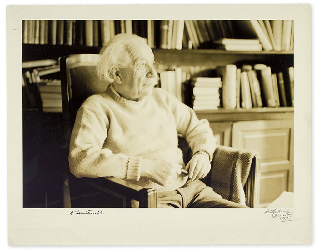 EINSTEIN, ALBERT. Photograph dated and Signed, A. Einstein. 54,