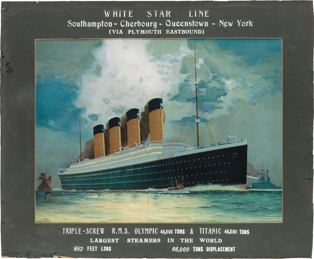 JAMES SCRIMGEOUR MANN (1883-1946). WHITE STAR LINE / R.M.S. OLYMPIC & TITANIC. Circa 1911. 20x24 inches, 50x61 cm. T. Forman & Sons, No
