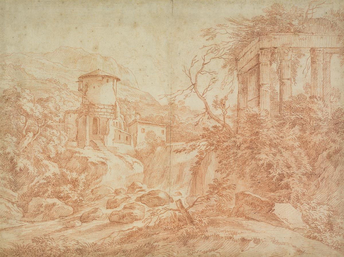FRENCH-SCHOOL-18TH-CENTURY-A-Landscape-near-Tivoli-with-a-Ri