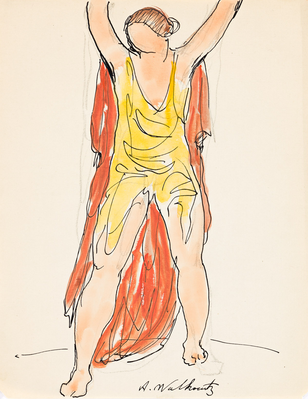 ABRAHAM WALKOWITZ (1878-1965) Group of 4 watercolors of Isadora Duncan.