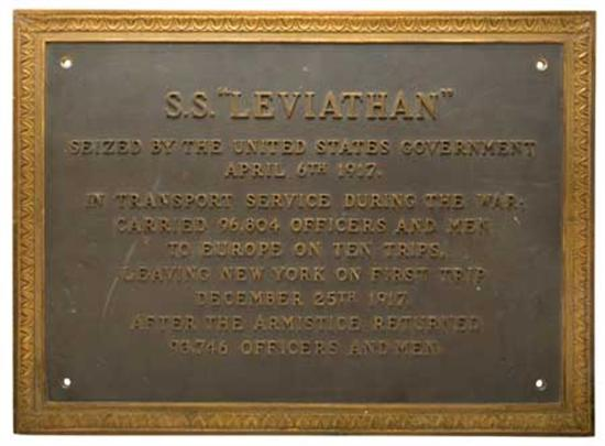 """(UNITED STATES LINES.) """"Leviathan."""" Bronze commemorative plaque from the bulkhead of the ship, documenting..."""