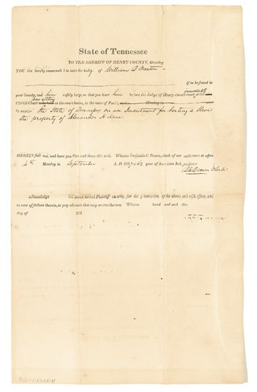 """(SLAVERY AND ABOLITION--TENNESSEE.) Partially printed document, accomplished by hand addressed to the Sheriff of Henry County: """"""""You ar"""