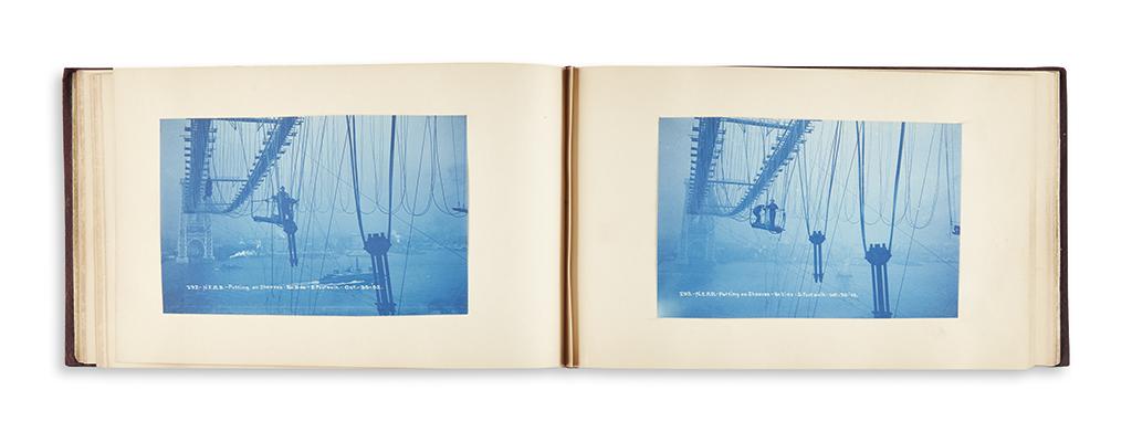 (NEW YORK CITY.) Bascome, W. Radford; compiler. Albums documenting the construction of Williamsburg Bridge.