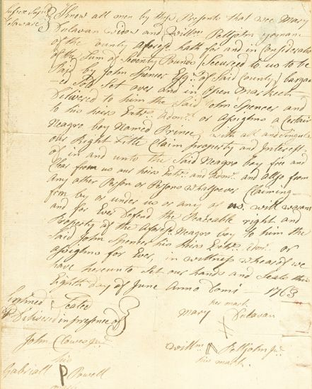 """(SLAVERY AND ABOLITION--COLONIAL DELAWARE.) Manuscript Slave Sale document, wherein """"""""Mary Sulavan, widow and William Pettijohn, Yeoman"""
