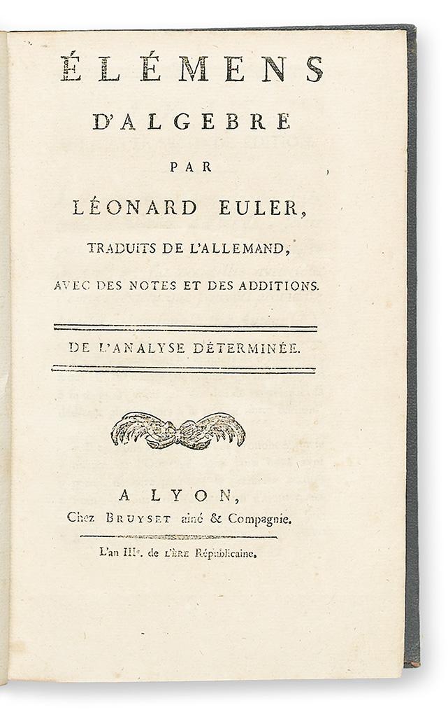 EULER-LEONHARD--Éléments-dAlgèbre--2-vols--1795