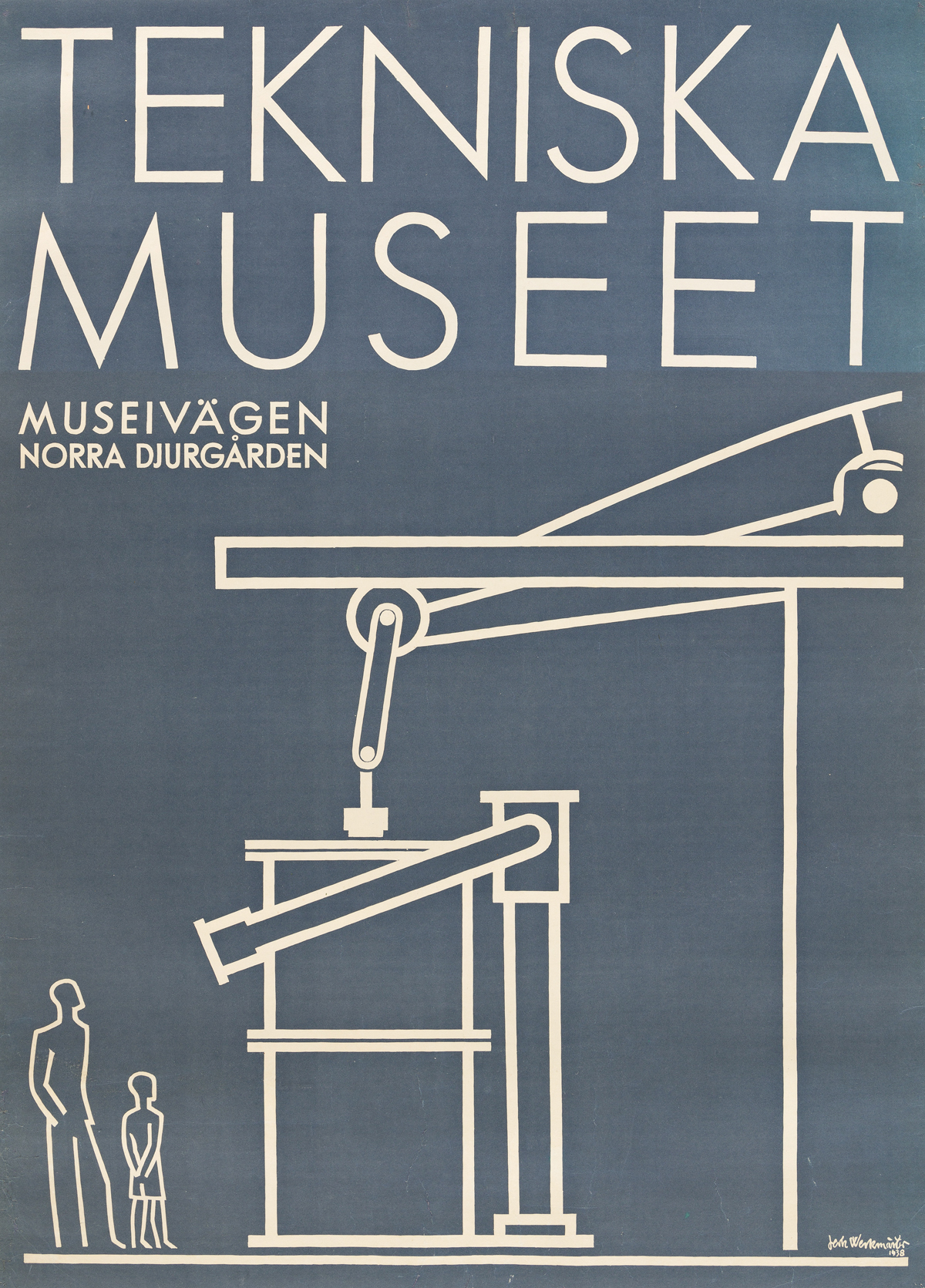 JERK WERKMÄSTER (1896-1978).  TEKNISKA MUSEET / MUSEIVAGEN. 1938. 32½x23½ inches, 82½x59¾ cm.