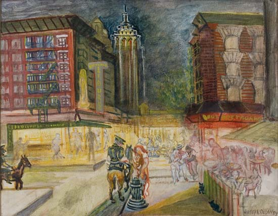 JOSEPH DELANEY (1904 - 1981) Untitled (New York Street Corner at Night).