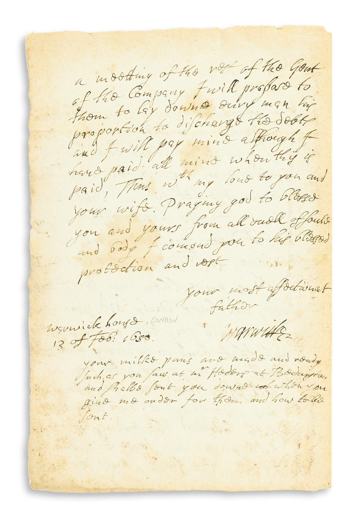 (SLAVERY--ABOLITION)-Robert-Rich-Earl-of-Warwick-Letter-rega