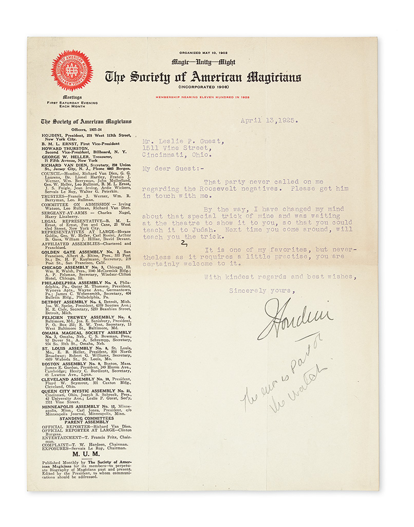 HOUDINI, HARRY. Group of 3 Typed Letters Signed, Houdini, to magician Leslie Guest.