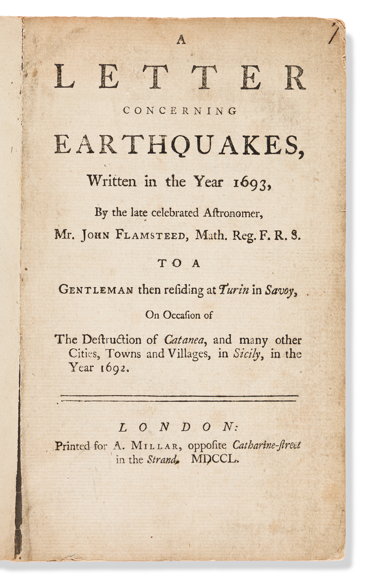 Flamsteed, John (1646-1719) A Letter Concerning Earthquakes, Written in the Year 1693.