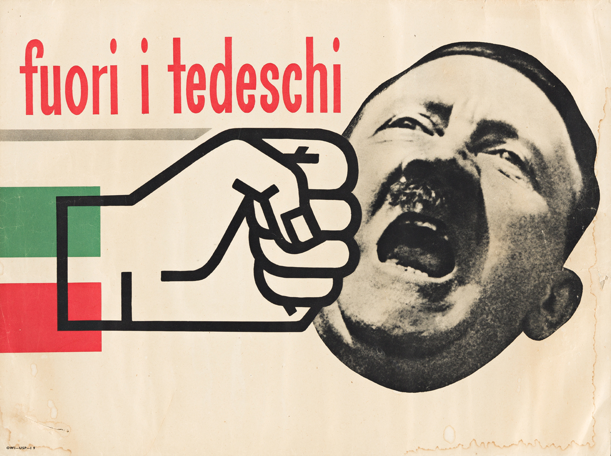 ATTRIBUTED TO LEO LIONNI (1910-1999).  FUORI I TEDESCHI / [OUT WITH THE GERMANS]. Circa 1944. 14½x19½ inches, 36¾x49½ cm.