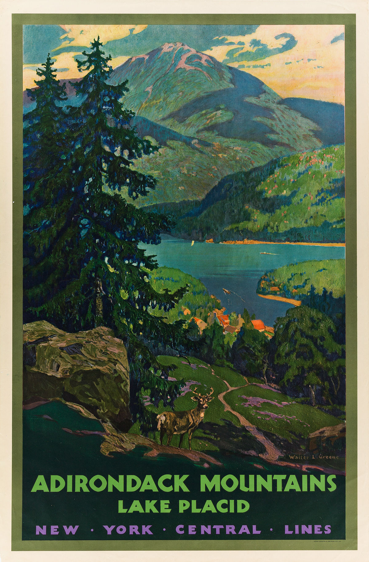 WALTER L. GREENE (1870-1956). ADIRONDACK MOUNTAINS / LAKE PLACID. 1930. 40x26 inches, 101x66 cm. Latham Litho and Printing Co., New Yor