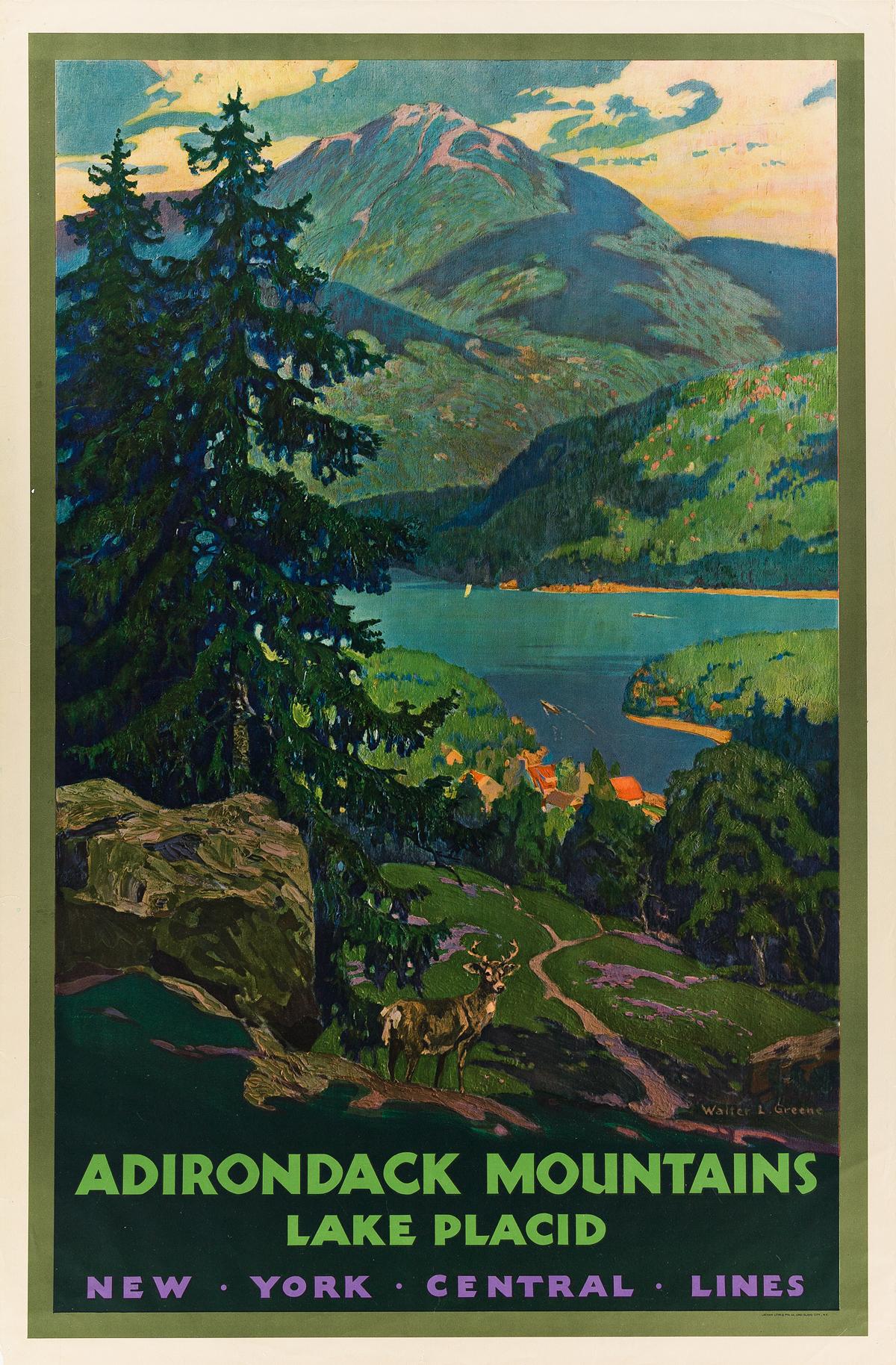 WALTER-L-GREENE-(1870-1956)-ADIRONDACK-MOUNTAINS--LAKE-PLACID-1930-40x26-inches-101x66-cm-Latham-Litho-and-Printing-Co-New-Yor