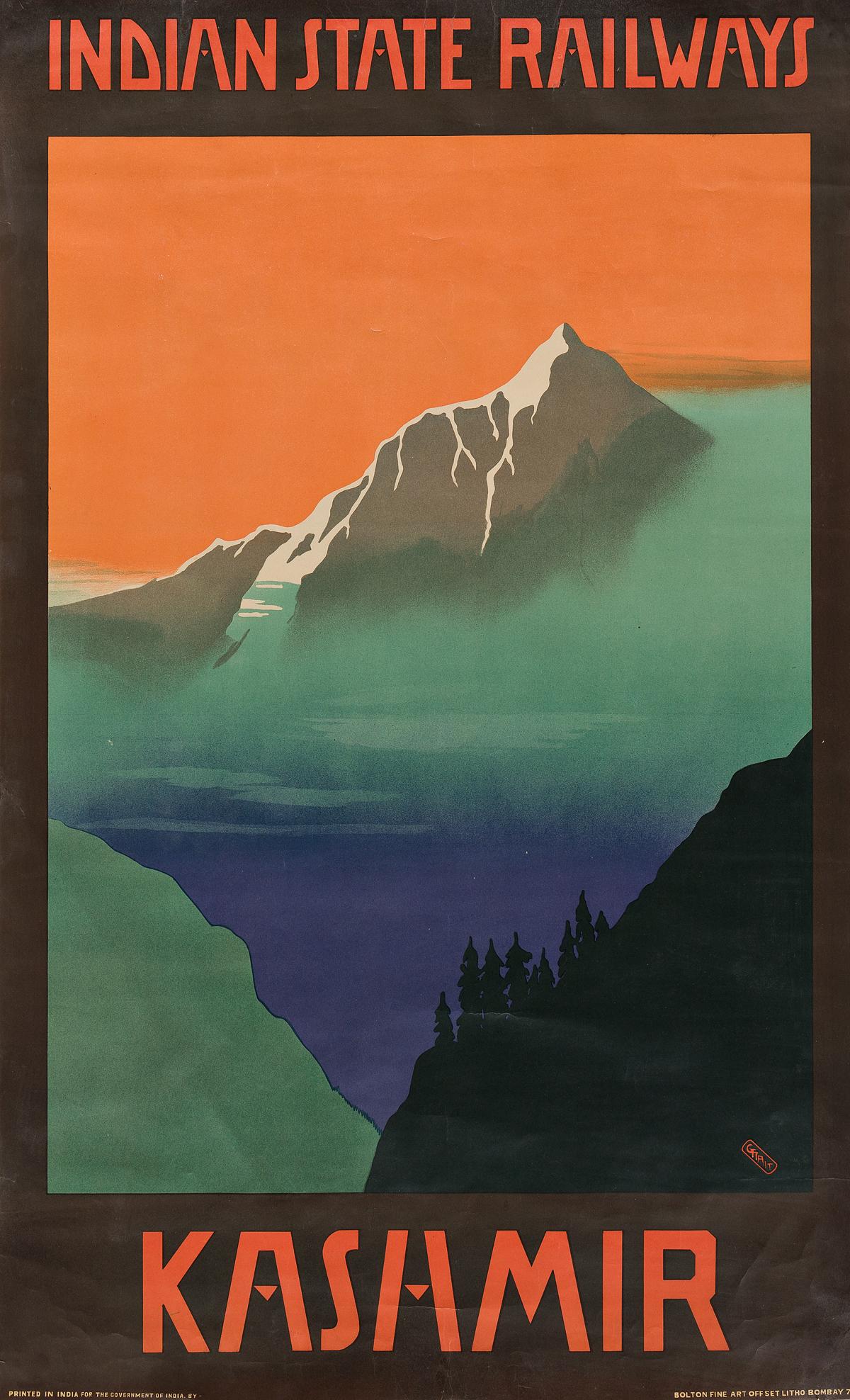 GERALD-GEORGE-WYNNE-TREVREDYN-TAIT-(1891-1954)-INDIAN-STATE-RAILWAYS--KASHMIR-Circa-1930s-39x24-inches-100x61-cm-Bolton-Fine-Art