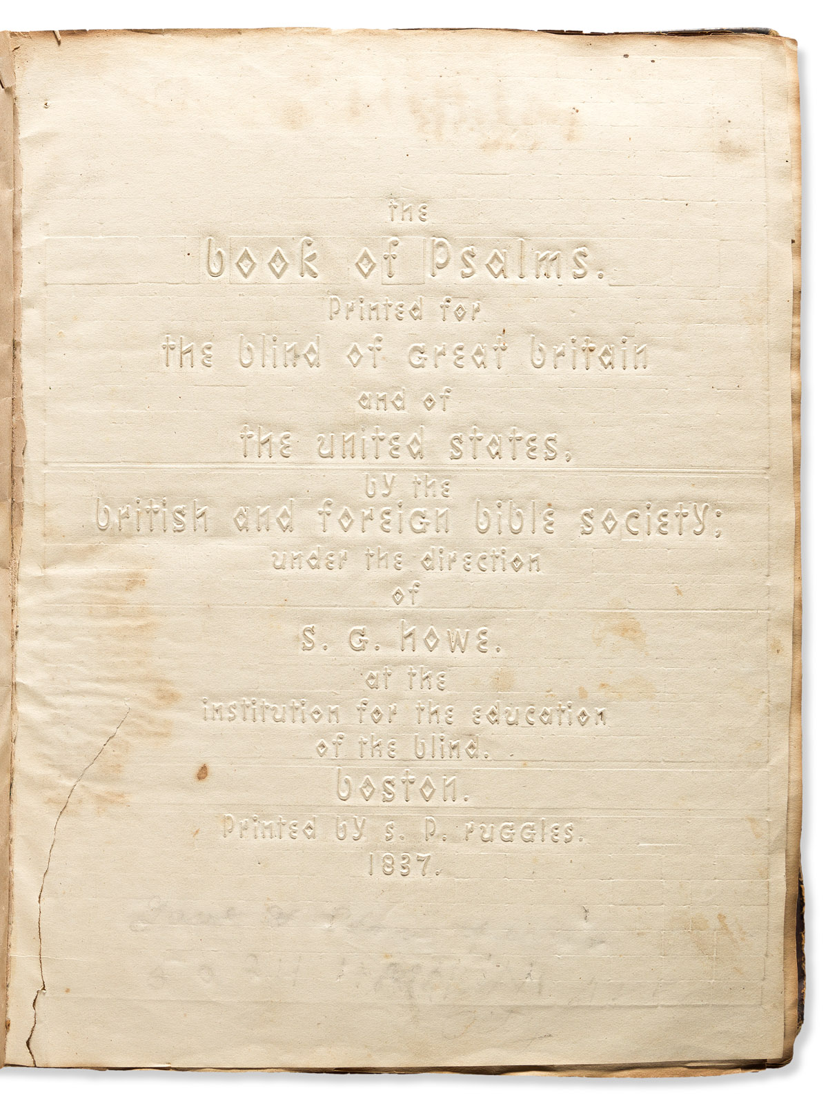 (BIBLE--BLIND.) The Book of Psalms, Printed for the Blind of Great Britain and the United States.