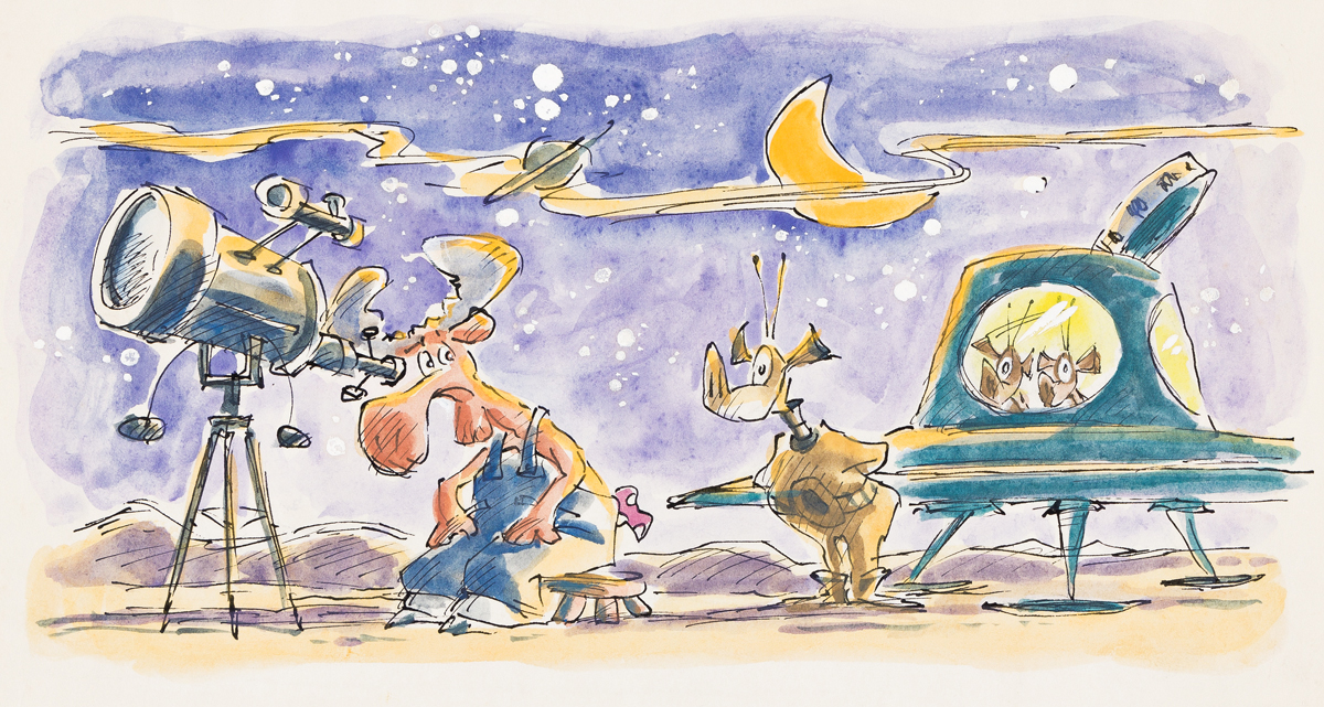 LEE LORENZ (1933- ) One night while I was watching the stars a flying saucer landed right next to me. [CHILDRENS]