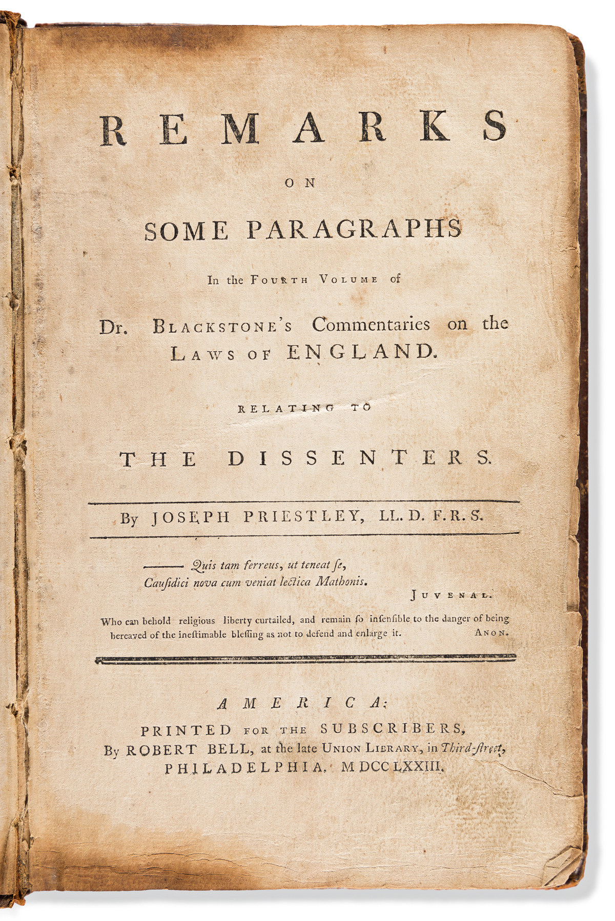 Blackstone, Sir William (1723-1780) An Interesting Appendix to Sir William Blackstones Commentaries on the Laws of England.