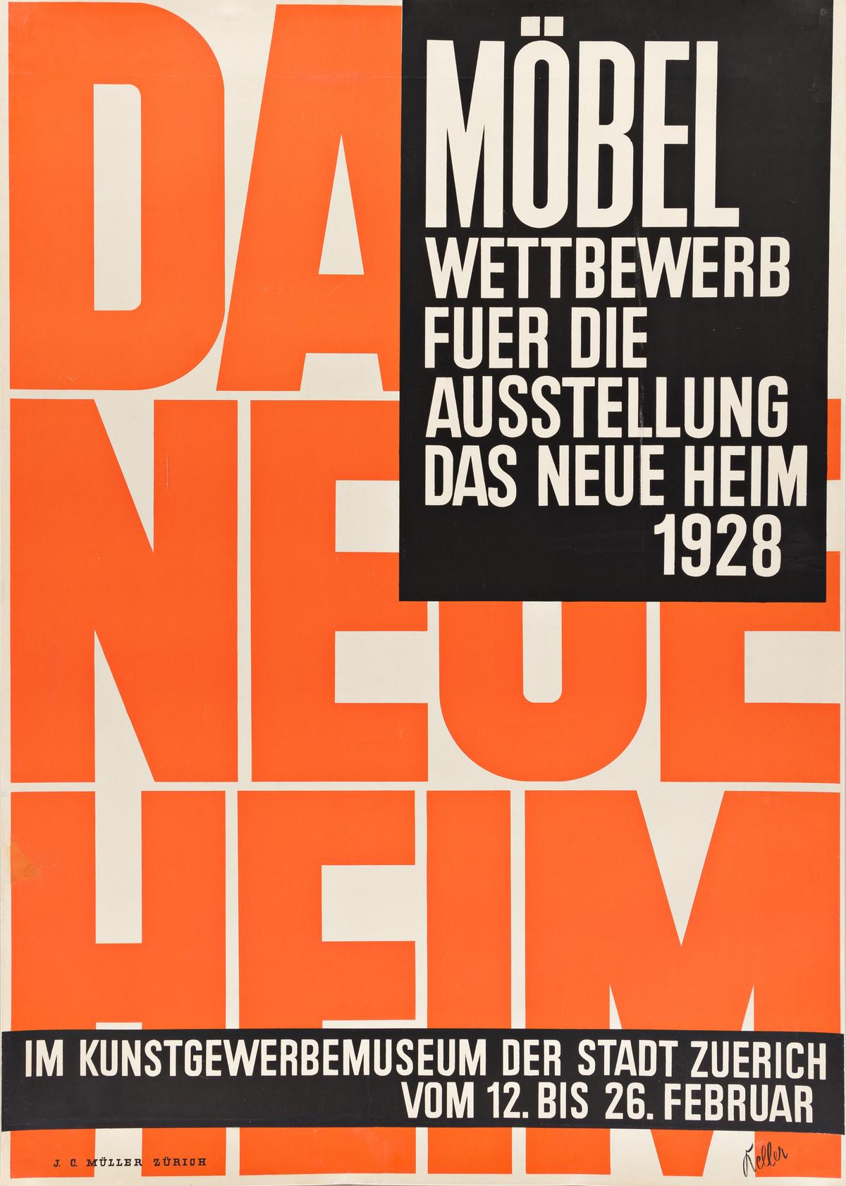 ERNST KELLER (1891-1968).  DAS NEUE HEIM. 1928. 50¼x35¼ inches, 128¼x89½ cm. J.C. Müller, Zurich.