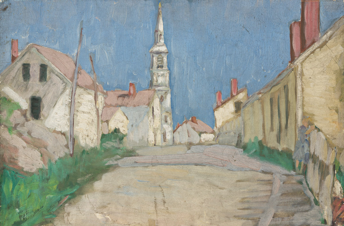 ABRAHAM WALKOWITZ (1878-1965) Street View with Church Steeple.