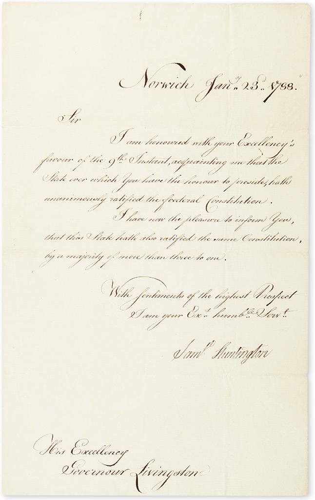 HUNTINGTON, SAMUEL. Letter Signed, Saml Huntington, as Governor, to Governor of NJ William Livingston, informing him that CT has rat