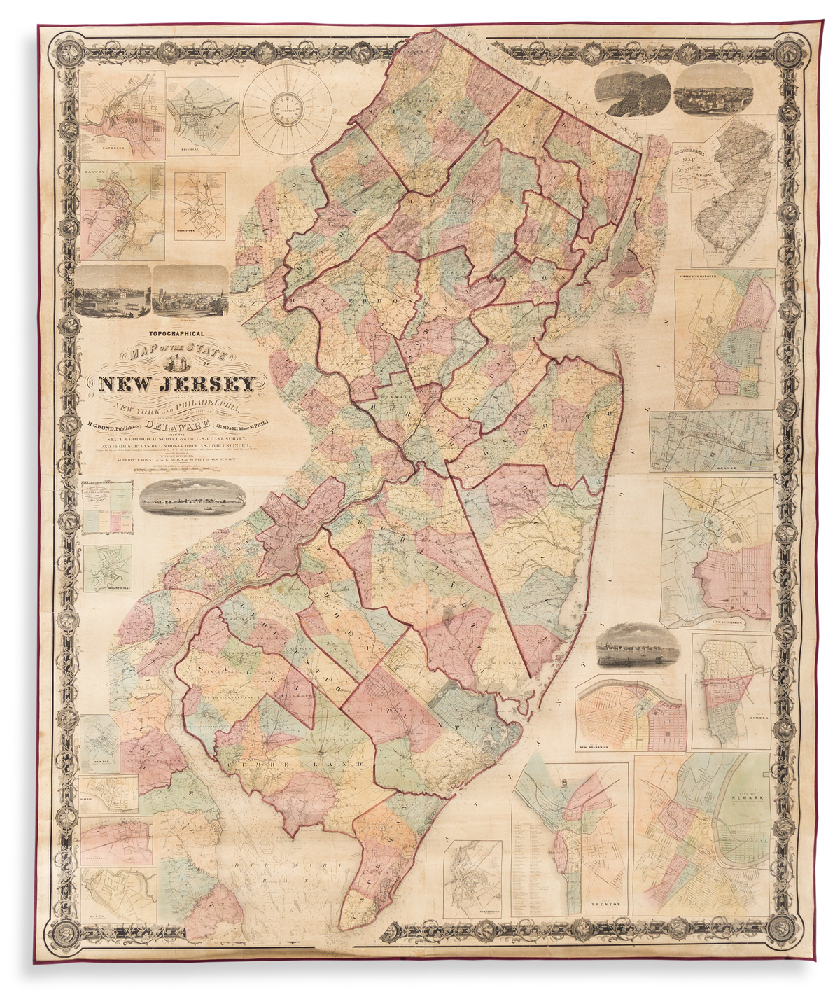 (NEW JERSEY.) William Kitchell. Topographical Map of the State of New Jersey