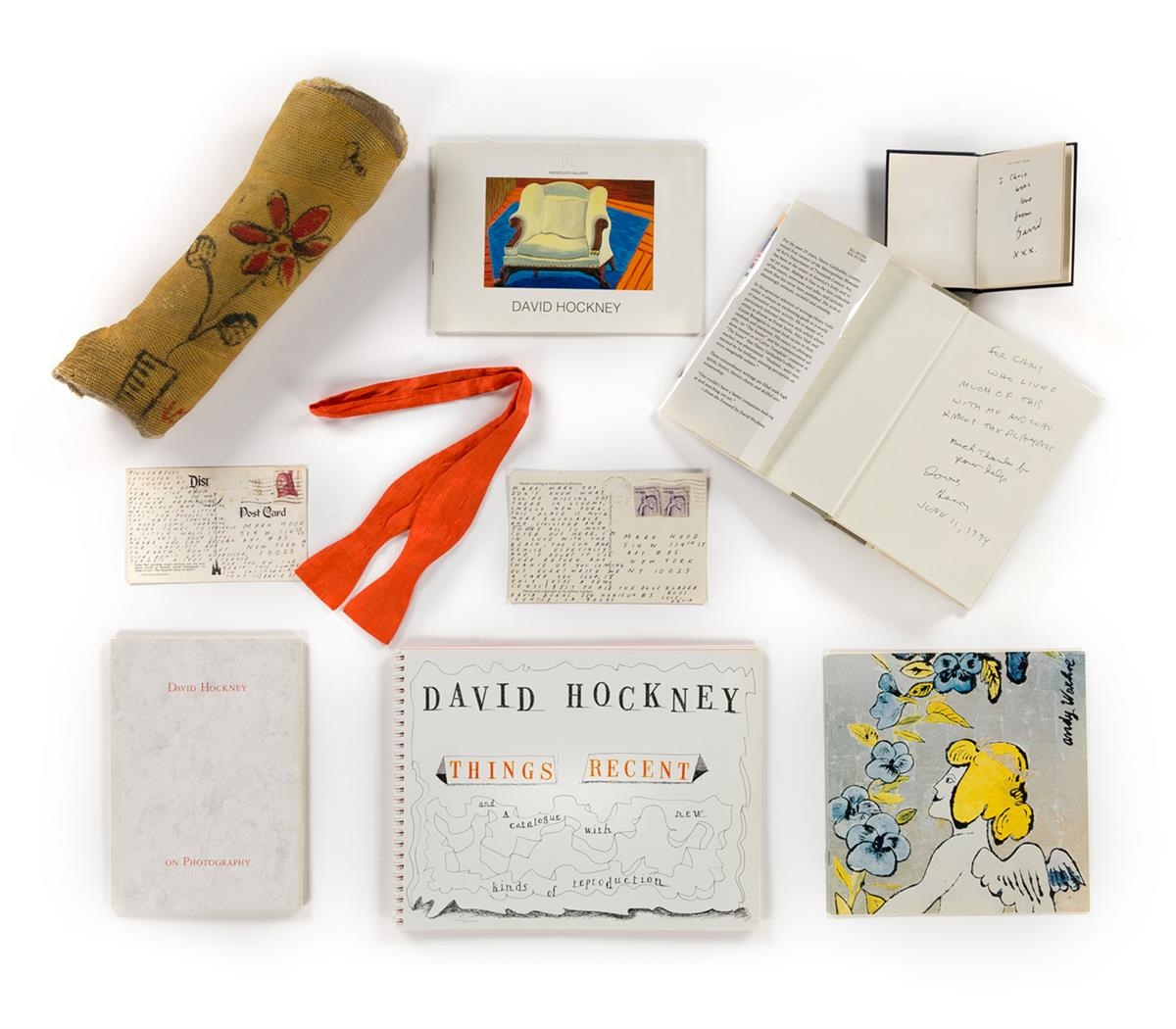 DAVID-HOCKNEY-(1937---)-Collection-of-Ephemera-Including-2-Postcards-and-an-Illustrated-Arm-Cast